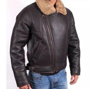 FREE AIRPODS: Men's Sheepskin Warm Leather Jacket
